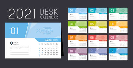 Year 2021 monthly desk calendar. Week starts Sunday. Vector template. 向量圖像