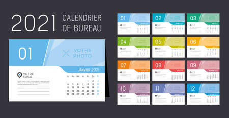 Year 2021 monthly desk calendar, in French language. Week starts Monday. Vector template.