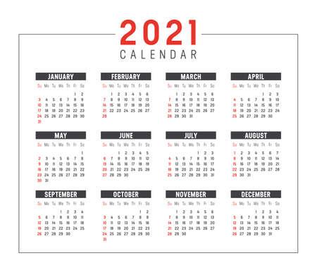 Year 2021 calendar isolated on white background. Week starts Sunday. Vector template. Zdjęcie Seryjne - 155443880