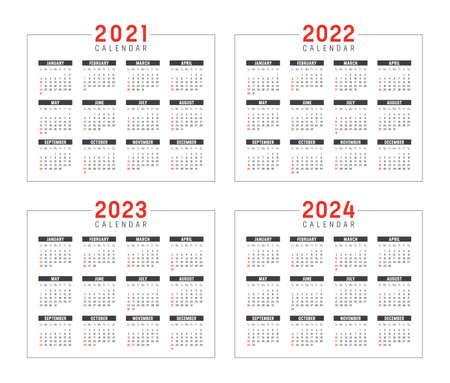 Years 2021 2022 2023 2024 minimalist calendars set, isolated on white, weeks start Sunday. Vector templates.