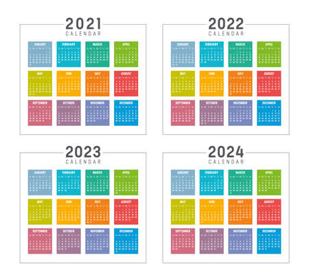 Years 2021 2022 2023 2024 colorful calendars set, isolated on white, weeks start Sunday. Vector templates. 向量圖像