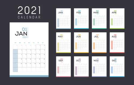 Year 2021 monthly calendar. Week starts Sunday. Vector template.