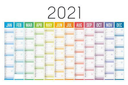 Year 2021 one page colorful calendar, on white background. Vector template. 向量圖像