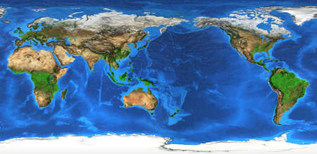 Detailed flat view of the Planet Earth and its landforms. Stock Photo