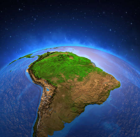 Surface of the Planet Earth viewed from a satellite, focused on South America, Andes cordillera and Amazon rainforest. Physical map of Amazonia. 3D illustration