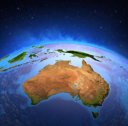 Surface of Planet Earth viewed from a satellite, focused on Australia. Physical map of the Australian continent. 3D illustration