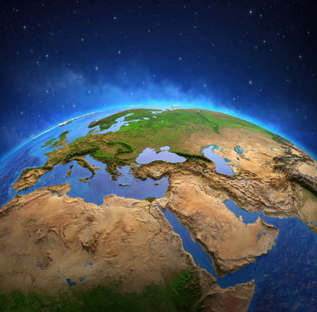 Surface of the Planet Earth viewed from a satellite, focused on Europe and Middle East. Physical map of the