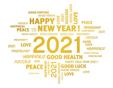 Greeting words around New Year date 2021, colored in gold, isolated on white. Word cloud wishes. Иллюстрация