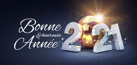 Happy New Year greeting in French language and silver date 2021 composed with a gold planet earth, glittering on black