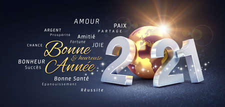 2021 New Year date number, composed with a gold colored planet earth, greetings and best wishes in French language, on a festive black background - 3D illustration