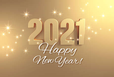 New year greeting card, date 2021 colored in gold, on a festive golden background - 3D illustration