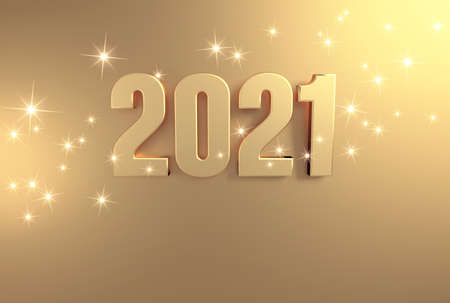 New year date 2021 colored in gold, on a festive golden background - 3D illustration