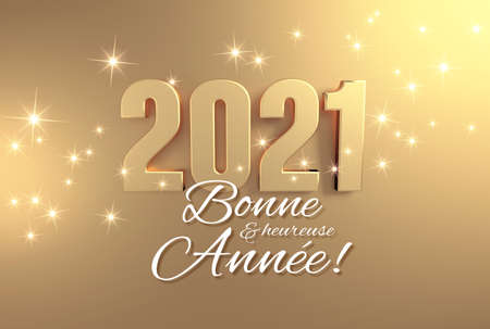 2021 date number colored in gold and New Year greetings in French language, on a festive golden background - 3D illustration