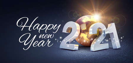Happy New Year greeting and silver date 2021 composed with a gold planet earth, glittering on a black background - 3D illustration