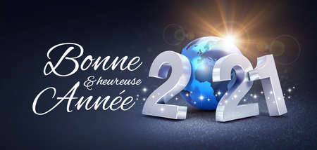 Happy New Year greeting in French language and silver date 2021 composed with a blue planet earth, glittering on a black background - 3D illustration