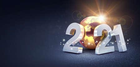 Silver date number 2021 composed with a gold planet earth, glittering on a black background - 3D illustration for Greeting card