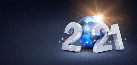 Silver date number 2021 composed with a blue planet earth, glittering on a black background - 3D illustration for Greeting card