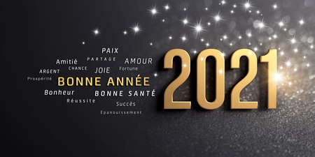 New year date 2021 and greetings in French language, colored in gold, on a festive black background, with glitters and stars - 3D illustration