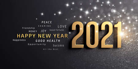 Happy New Year greetings and 2021 date number, colored in gold, on a festive black background, with glitters and stars - 3D illustration