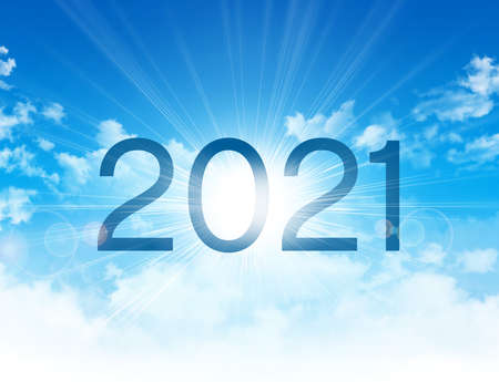 New Year 2021 date number, high in blue sky with morning sunrise, as the beginning of a new day