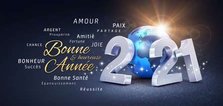2021 New Year date number, composed with a blue planet earth, greetings and best wishes in French language, on a festive black background - 3D illustration