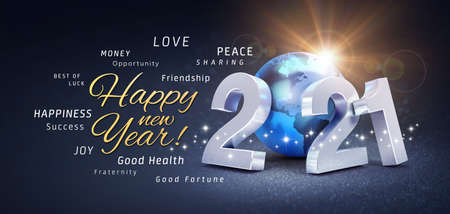 Happy New Year greetings, best wishes and 2021 date number, composed with a blue planet earth, on a festive black background, with glitters and stars - 3D illustration