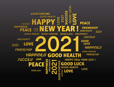 Gold greeting words around New Year date 2021, on black background