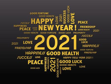 Gold greeting words around New Year date 2021, on black background 矢量图像
