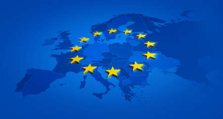 Europe blue banner and yellow stars with European Union map inside - 3D illustration