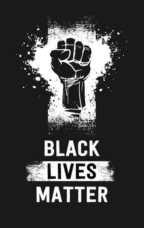 Raised fist illustration and Black Lives Matter white texte, as a symbol for resistance, on a vertical black banner