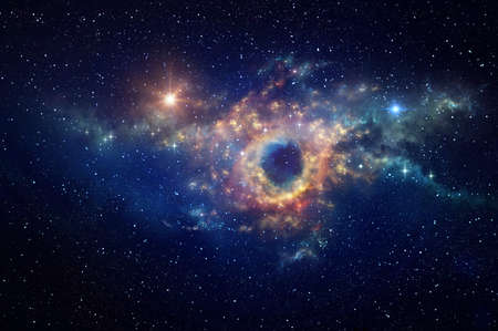 Black hole and cosmic waves into deep space. Nebula at the center of a galaxy clusters in universe. Stars constellations background.