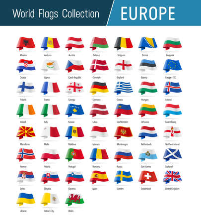 Flags of Europe, waving in the wind. Icons pointing location, origin, language. Vector world flags collection. 矢量图像