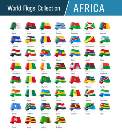 Flags of Africa, waving in the wind. Icons pointing location, origin, language. Vector world flags collection.