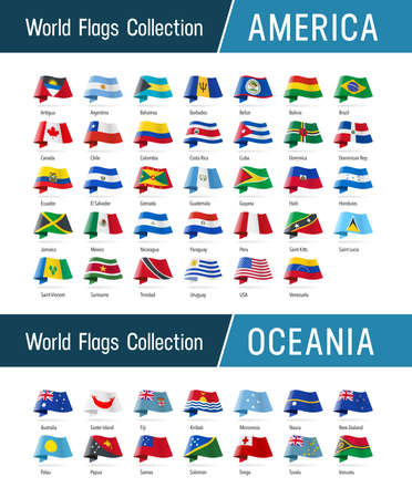 Flags of America and Oceania, waving in the wind. Icons pointing location, origin, language. Vector world flags collection. 矢量图像
