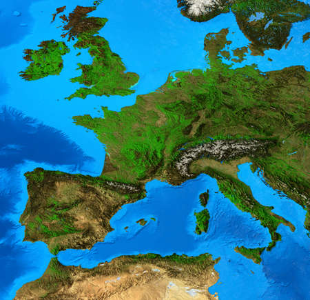 Geographical map of Western Europe, centered on France. Detailed flat view of the Planet Earth and its landforms. 3D illustration