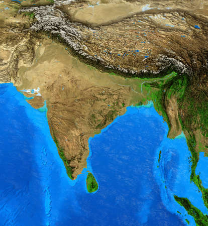 Physical map of India, Nepal, Himalayas and Tibet. Detailed flat view of the Planet Earth and its landforms. 3D illustration 免版税图像