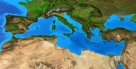 Physical map of Mediterranean Sea. Detailed flat view of the Planet Earth and its landforms. 3D illustration