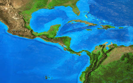 Physical map of Central America and the Caribbean. Detailed flat view of the Planet Earth and its landforms. 3D illustration 免版税图像