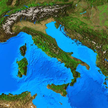 Physical map of Italy and Italian region. Detailed flat view of the Planet Earth and its landforms. 3D illustration 免版税图像