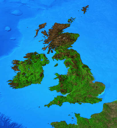 Physical map of England, Britain and Ireland. Detailed flat view of the Planet Earth and its landforms. 3D illustration 免版税图像