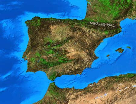 Physical map of Spain and Portugal. Detailed flat view of the Planet Earth and its landforms. 3D illustration