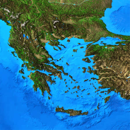 Physical map of Greece. Detailed flat view of the Planet Earth and its landforms. 3D illustration 免版税图像