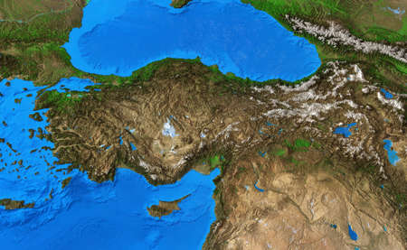 Physical map of Turkey. Detailed flat view of the Planet Earth and its landforms. 3D illustration