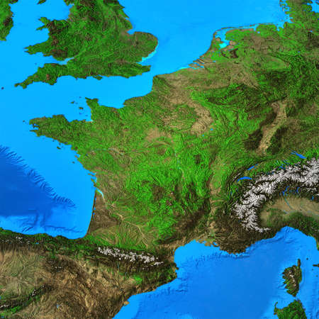 Physical map of France. Geography of French territory. Detailed flat view of the Planet Earth and its landforms. 3D illustration 免版税图像