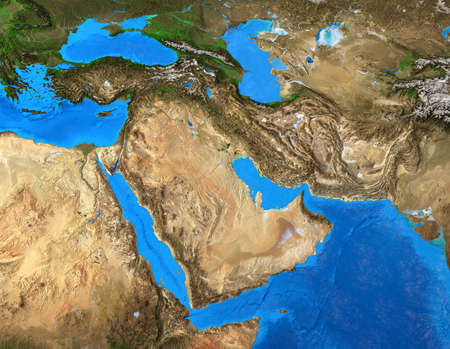Physical map of Middle East. Geography of Arabian Peninsula. Detailed flat view of the Planet Earth and its landforms. 3D illustration