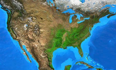 Physical map of The United States of America. Geography and topography of The USA. Detailed flat view of the Planet Earth and its landforms. 3D illustration