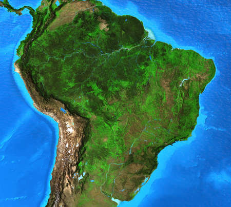 Physical map of Brazil. Geography and topography of Amazon rainforest. Detailed flat view of the Planet Earth and its landforms. 3D illustration 免版税图像