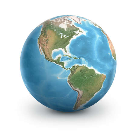Planet Earth globe, isolated on white. Geography of the world from space, focused on North and South America - 3D illustration 免版税图像