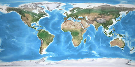 Physical map of the World, with high resolution details. Flattened satellite view of Planet Earth, its geography and topography. 3D illustration 免版税图像