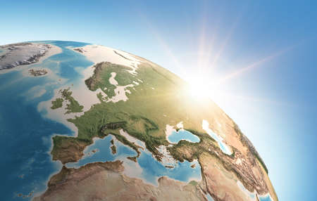Sun shining over a high detailed view of Planet Earth, focused on Western Europe. 3D illustration